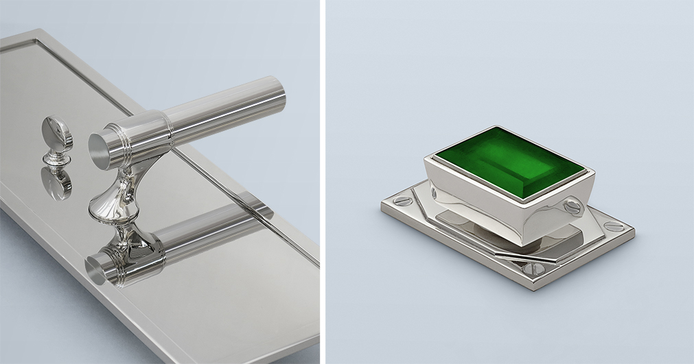 Lever design in polished nickel on an oversized backplate paired with a custom emerald rock crystal cabinet pull.
