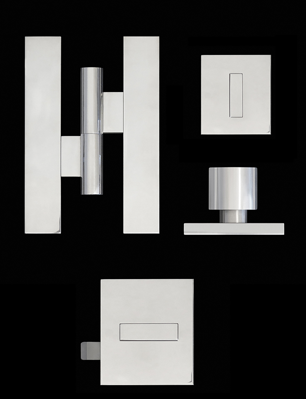 Modern hinges and door hardware in nickel finish.