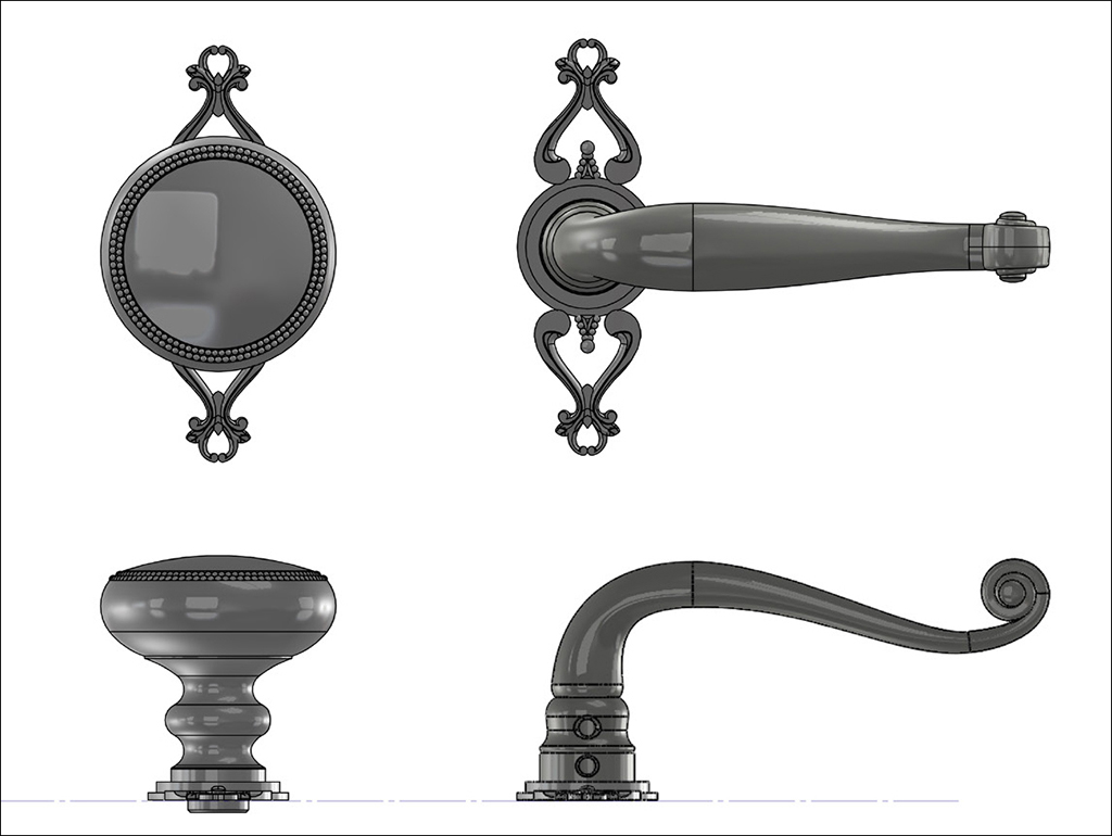 Design commission mockup of custom door knobs and levers.