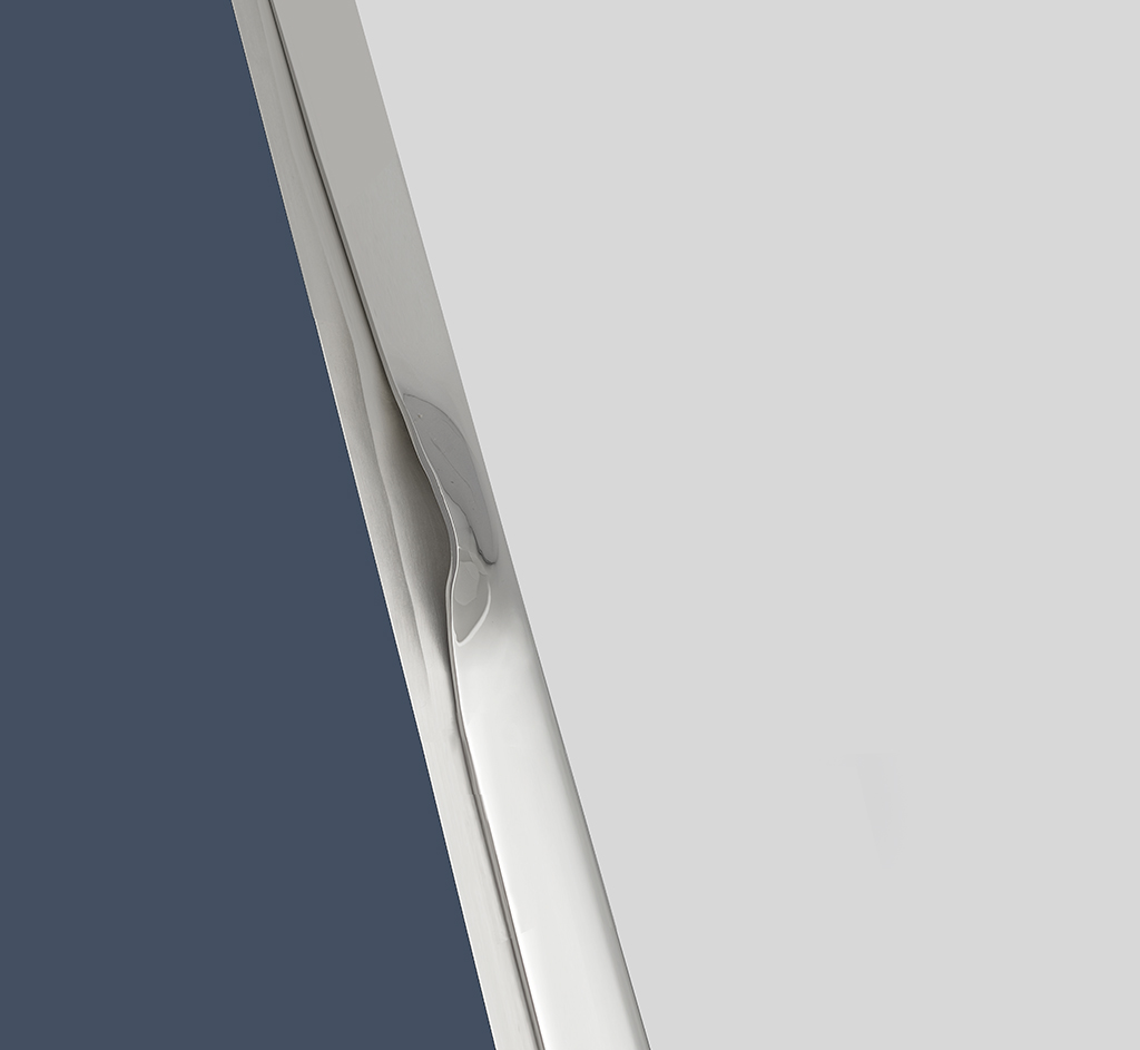 Rendering of integrated door handles in modern polished silver finish.