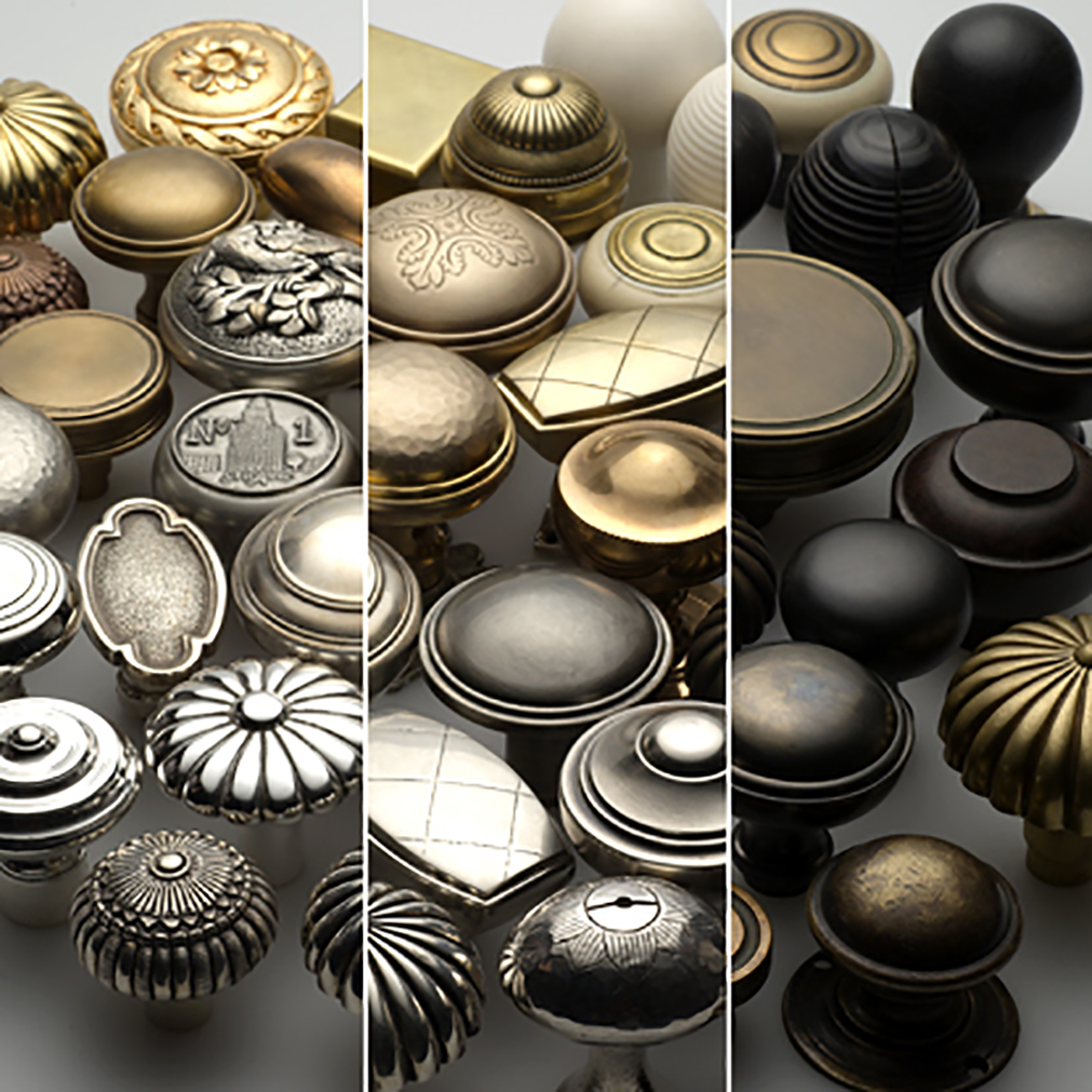 Collection of custom door hardware in a range of signiture and custom finishes.